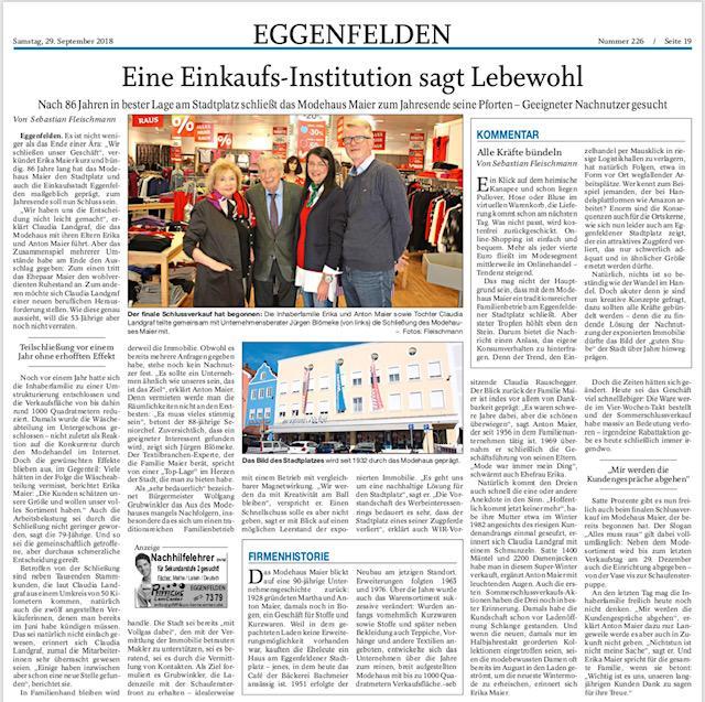 Kultur TRENDS: Pressebericht zu Mode Maier Räumungsverkauf in Eggenfelden