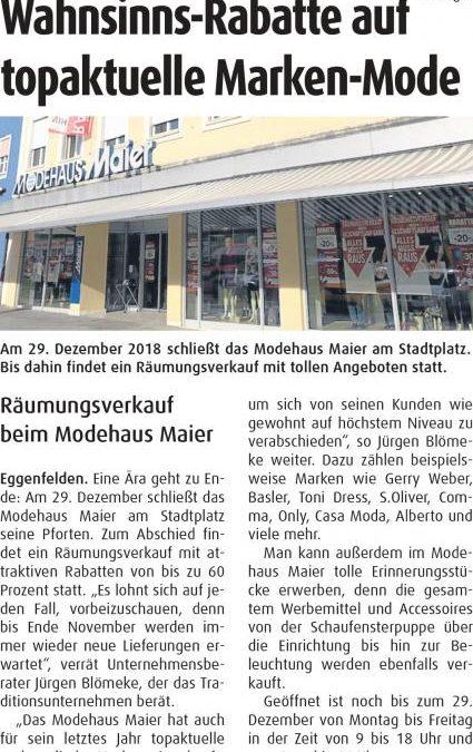 Aktueller Pressebericht Mode Maier in Eggenfelden